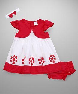 Wonderchild Printed Dress With Bloomer & Headband - Red