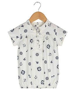 Tia'S Closet Nautical Print Top - White