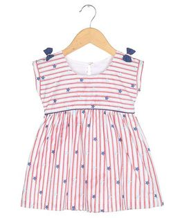 Tia'S Closet Stripes And Whimsical Stars Sailor Hues Dress - White & Red