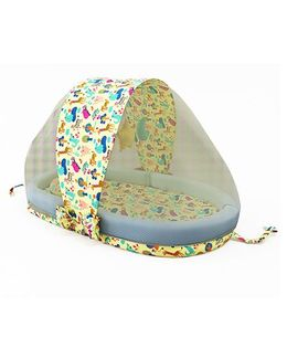 Fancy Fluff Multipurpose Mattress Set With Mosquito Net Animal Print - Yellow Blue