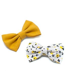 Pigtails and Ponys Bumble Bee Print Bow Clips Set Of 2 - Yellow
