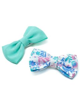 Pigtails and Ponys Pastel Floral Print Bow Clips Set Of 2 - Blue And Green