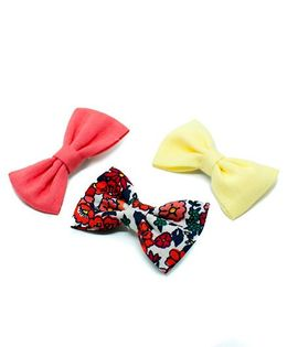 Pigtails and Ponys Sunny Floral Bow Clips Set Of 3 - Multicolor