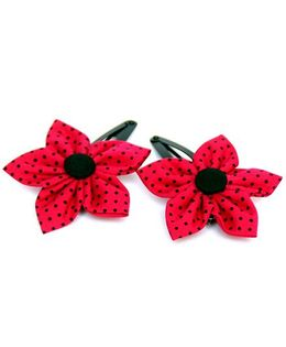 Pigtails and Ponys Polka Print Flower Applique Clips Set Of 2 - Red And Black