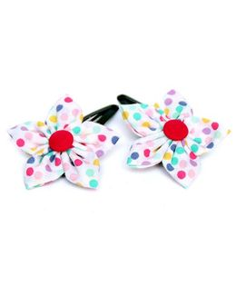 Pigtails and Ponys Disco Dots Flower Clips Set Of 2 - Multicolor