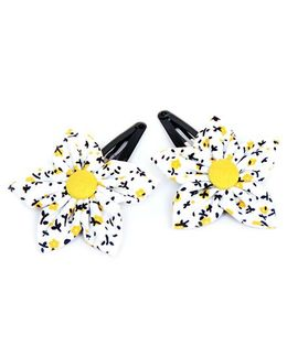 Pigtails and Ponys Daisy Flower Applique Clips Set Of 2 - Yellow