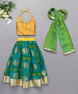 Kids Chakra Ghagra Choli For Girls - Green