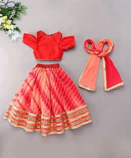 Kids Chakra Tie & Dye Ghagra Choli - Peach Red