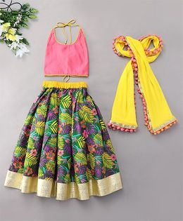 Kids Chakra Floral Ghagra Choli With Pom Pom Dupatta - Green