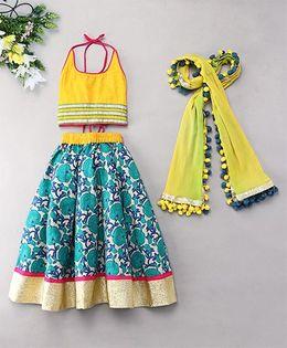Kids Chakra Floral Ghagra Choli - Blue