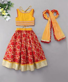 Kids Chakra Floral Ghagra With Cold Shoulder Choli - Red