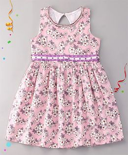 Sorbet Flowers Printed Cotton Satin Summer Dress With Pearls Lace Neckline - Pink