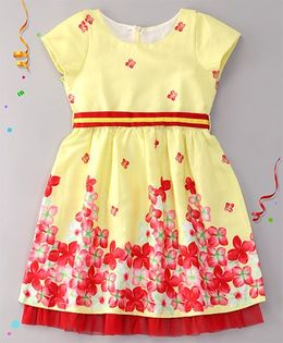 Sorbet Printed Cotton Satin Dress With Border And Belt - Yellow