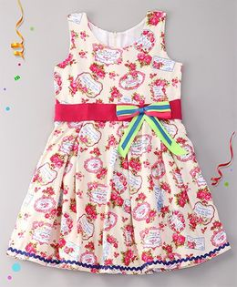 Sorbet Flower Printed Dress With Belt And Flower - Cream