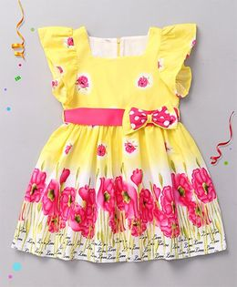 Sorbet Printed Cotton Dress With Frill Sleeves - Yellow