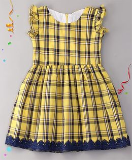Sorbet Checks Dress With Lace - Yellow