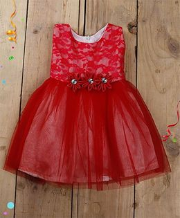 Tiny Toddler Lace And Tulle Dress With Crystals - Pink