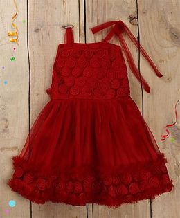 Tiny Toddler Red Embroidery One Shoulder Strap Dress - Red