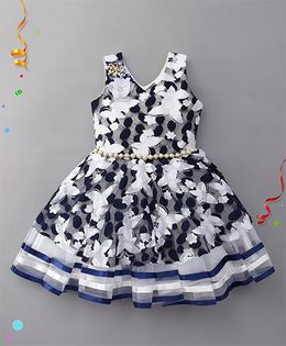 Eiora Floral Party Wear Dress - Blue & White