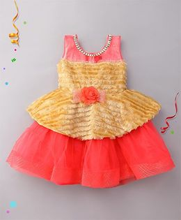 Eiora Partywear Dress For Girls - Red & Gold