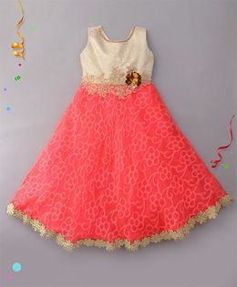 Eiora Beautiful Gown With Flower Applique - Red & Gold