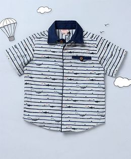 Hugsntugs Whale Print Shirt - White & Navy Blue