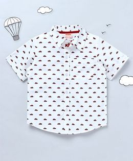 Hugsntugs Car Print Shirt - White & Red