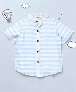Hugsntugs Horizontal Stripe Shirt With Chinese Collars - Blue & White