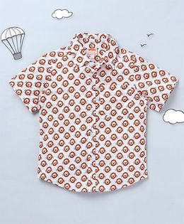 Hugsntugs Lion Face Print Shirt - White & Orange