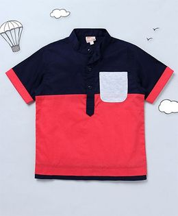 Hugsntugs Color Block Shirt With Contrast Pocket - Navy Blue & Red