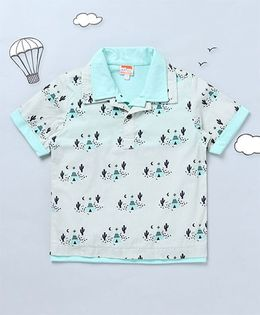 Hugsntugs Tent House Print Shirt - Blue