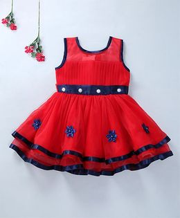 Enfance Beautiful Sleeveless Party Wear Dress - Red & Navy blue