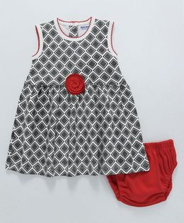 Wonderchild Printed Dress With Bloomers - Black & Red