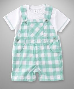 ToffyHouse Dungaree With Inner Tee Checks Pattern - Green & White