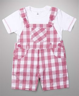 ToffyHouse Dungaree With Inner Tee Checks Pattern - Pink & White