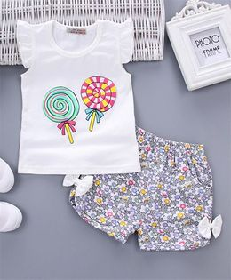 Pre Order - Awabox Candy Print Tee & Shorts - White