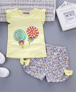 Pre Order - Awabox Candy Print Tee & Shorts - Yellow
