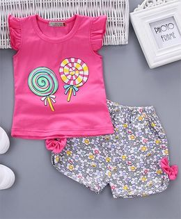 Pre Order - Awabox Candy Print Tee & Shorts - Rose