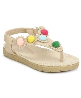 My Lil Berry Colorful Pompom Strap Sandals - Beige