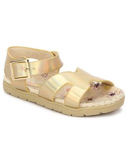My Lil Berry Shiny Strap Sandals - Golden