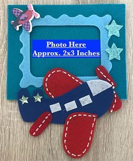 Kalacaree Fly High With Aeroplane Theme Magnetic Photo Frame - Blue