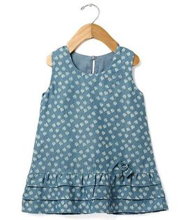 Tia'S Closet Printed Frilled Denim Dress - Blue