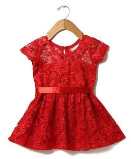 Tia'S Closet Net Fabric Half Sleeve Frock - Red