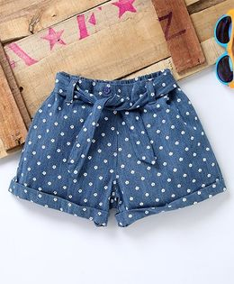 Eimoie Tiny Flower Printed Shorts With Front Tie Up - Blue