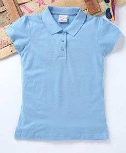 Eimoie Stylish Polo Neck Tee With Short Sleeves - Blue