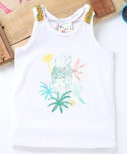 Eimoie Parrot Printed Sleeveless Top Embellished With Beads - White