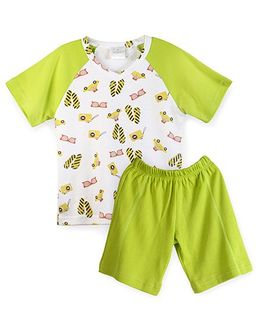 Chic Bambino Holiday Design Adam Short Set - Lime Green & White