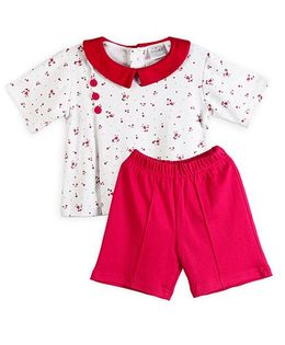 Chic Bambino Periwinkle Design Top & Shorts Set - Magenta & White