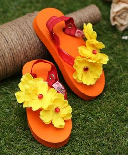 D'Chica Wear Them To The Pool Flip Flops With Interchangeable Backstraps - Orange