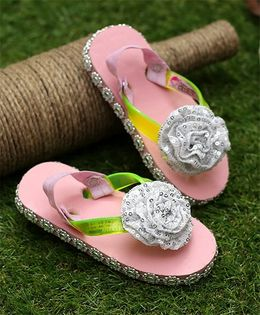 D'Chica Blingy Sandal Style Flip Flops With Interchangeable Backstraps - Pink